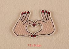Love Heart Fingers Women Hands Iron on Sew on Embroidered Patch Badge Motif
