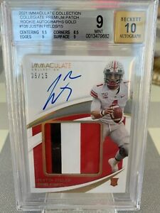 2021 Panini Immaculate Collegiate JUSTIN FIELDS GOLD RPA /15 BGS 9 ROOKIE AUTO