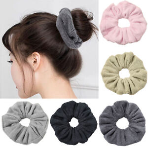 Women Absorbent Plush Hair Scrunchies Winter Soft Hair Tie Ponytail Hair Rope UK