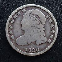 USA 1830 Dime Capped Bust 10 Cent Philadelphia Silber Selten 2059
