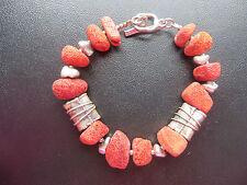 SILPADA - B0903 - Red Sponge Coral and Silver Bead Bracelet - RARE!