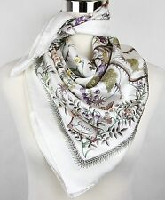 New Gucci Large White Floral Silk Foulard Scarf 303156 9079