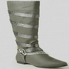 NWT ROCAWEAR Womens SHARON Chain Link Gray / Black BOOTS sz 9