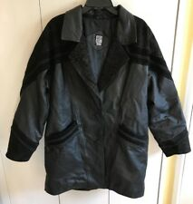 Greg Bell Womens Black Leather & Suede Coat Jacket Size L