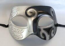 Greek / Roman Mens Masquerade Face Mask - Black & Silver - Express Post Avail