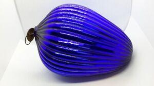 """Rare Vintage Cobalt Blue Ribbed Egg From German Kugel 6.5"""" Christmas Ornament"""