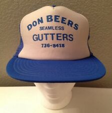 Vintage 80's Don Beers Seamless Gutters Mesh Trucker Hat One Size Snapback Rare!