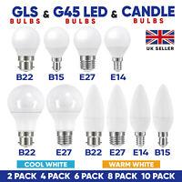 LED Golf Globe Candle Round Light Bulbs 6W SES E14 B22 Bayonet Warm Cool White