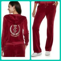 New Women's Juicy Couture Tracksuit Red Sm Velour Hoodie Boot Pants 2pc Gym Set