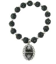 Grandma Black Jeweled Beads Crystal Stretch Bracelet Domed Charm Jewelry Gift