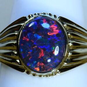 Gorgeous Genuine Australian opal Solid 14k white gold ring (15057)
