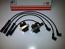 FIAT PUNTO MK2 1999-05 1.2 1242cc 2x IGNITION COIL PACKS & SET OF HT PLUG LEADS