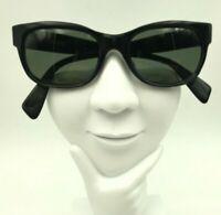 Vintage Errebi Black Oval Horn-Rimmed Sunglasses Eyeglasses Frames