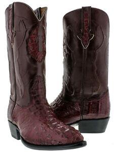 Genuine Crocodile Hornback Mens Western Leather Burgundy J Toe Cowboy Boots
