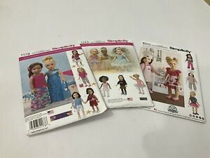 Simplicity  Sewing Pattern for Dolls Clothes 18ins doll  X 3 Uncut D4