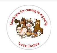 24 Personalised Farm Animals Birthday Party Goody Bag Sweet Cone Stickers