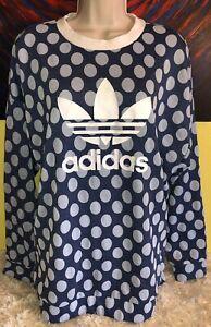 Women's Adidas Originals Trefoil Sweater Sweatshirt Poker Dot BJ8299 Size Medium