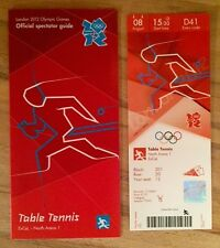 LONDON 2012 OLYMPIC TICKET TABLE TENNIS CHINA GOLD 8AUG & SPECTATOR GUIDE *MINT*