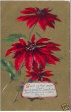 Gilt POINSETTIA Greeting Card  ~ VINTAGE