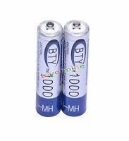 2x AAA 1000mAh 3A 1.2 V Ni-MH Rechargeable Battery BTY Cell for MP3 RC Toys
