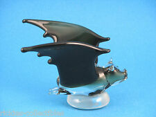Art-Glass Black Bat Figurine