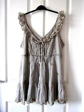 River Island Blouse,Smock Size 14.Grey & Gold.Frill Trim.Silky.Jewelled Buttons.