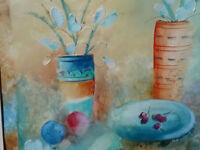 LEE WHITE  Flowers and cherrie original acrylic on paper ART AS HOLIDAY GIFT