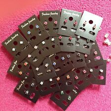 JOB LOT-24 0.4cm mox colours diamonte stud earrings. Silver plated.UK handmade.