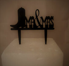 Wedding Party Reception Mr. & Mrs Silhouette Western Cowboy Boot Cake Topper