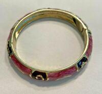 Retro bangle bracelet silver tone clamper pink & black enamel abstract swirls