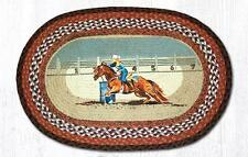 NEW Barrel Racing Western Horse Jute Fiber Braided Oval Rug Mat