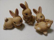 Homco 1442 Ceramic Brown Bunny Set Vintage