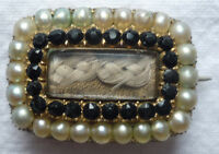 BIEDERMEIER BROSCHE PERLEN GRANAT HAAR 14 Karat Gold 585/f. um 1860 ~ 5,92 Gramm