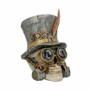 """Funky """"Count Archibald"""" Ornamental Poly-Resin Steampunk Top Hat Skull 19.5cms"""