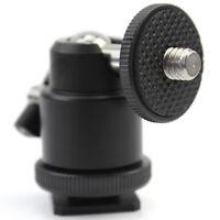 "Black 1/4"" 360 Swivel Ball Head Screw For Camera Tripod DSLR Ballhead Stand POI"