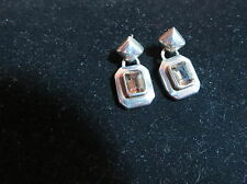 Smokey Topaz and sterling silver ladies post earrings, nice!