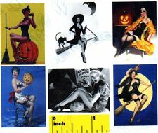 6 Miniature   Vintage Witch  Pin Ups    Prints  - Dollhouse 1:12 scale