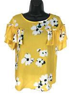 Xhilaration Zip Back Blouse Sz M Medium Yellow Floral Ruffle SS Peasant Top