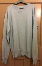 TWISTED SOUL pale blue cotton thin knit crew neck rib insert jumper UK XL BNWT