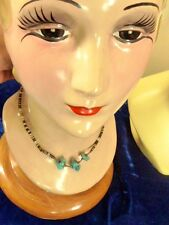 Vintage sterling silver NAVAJO NATIVE AMERICAN TURQUOISE AND SHELL NECKLACE