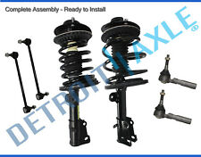 New Complete Front Quick Struts + 2 Sway Bar Links + 2 Outer Tie Rod Links - 2WD