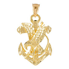 Pure 14k Gold Anchor Eagle Diamond Cut Pendant