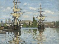 CLAUDE MONET FRENCH SHIPS RIDING SEINE ROUEN OLD ART PAINTING POSTER BB5138A