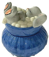 1995 Artist Made Porcelain Trinket Box With figural Rabbit-Bunny Lid