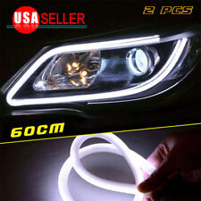 2X Tube LED Strip Flexible Daytime Running Headlight DRL White Soft Running 12V
