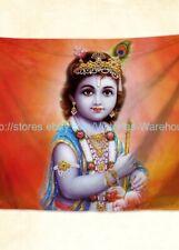 US Seller- Lord Sri Krishna Baby Bal Krishna tapestry cloth poster wall art
