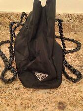 Prada Black Nylon Tote with Chain Handles HTF 100% Authentic