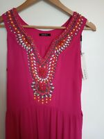 Roman Hot Pink Embellished Beaded Sequin Party Occasion Maxi Dress BNWT 14