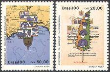 Brasil 1988 abolición de la esclavitud/Derechos/Barco/mapa/Libro De La Ley/Pen 2 V Set (n27645)