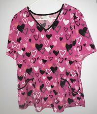 "Scrubstar ""Charming Hearts"" Scrub Top V-Neck Mock Wrap Size Xl"